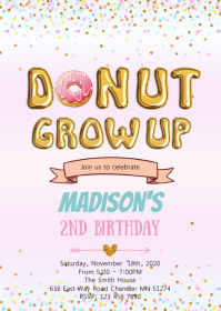 Donut grow up girl birthday invitation