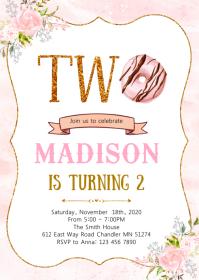 Donut grow up party birthday invitation