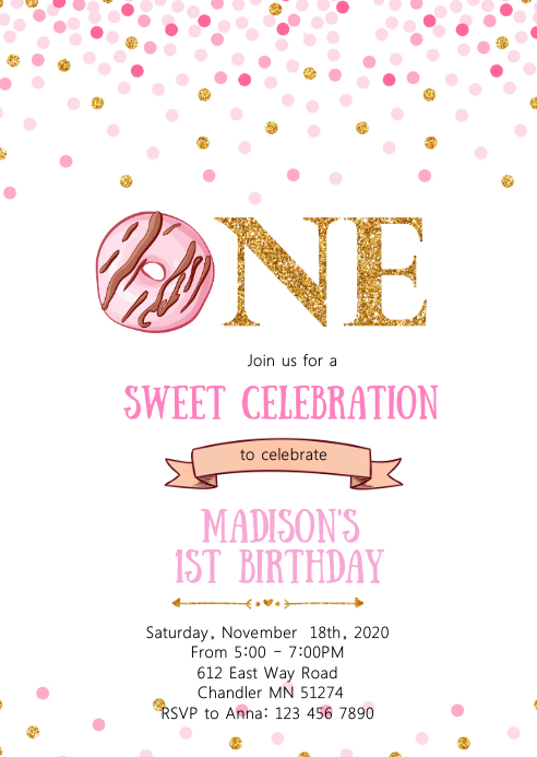 Donut one birthday party invitation