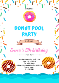 Donut pool party birthday Invitation A6 template