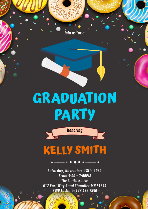 Donut Theme graduation invitation A6 template