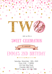 Donut two birthday party invitation