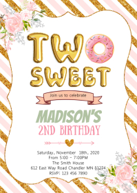 Donut two sweet girl birthday invitation