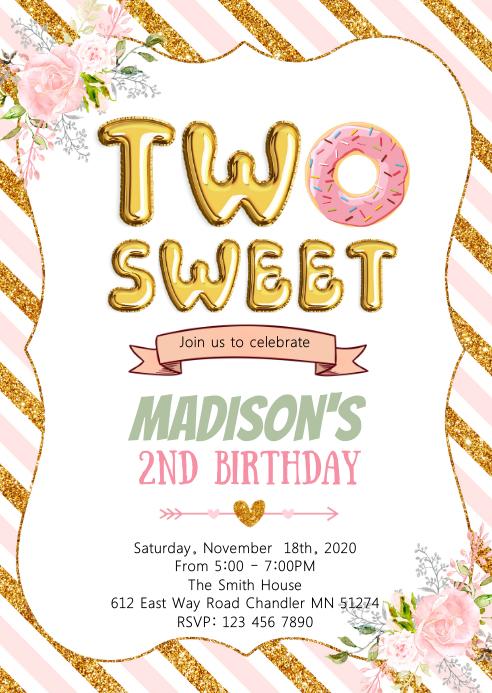 Donut two sweet girl birthday invitation