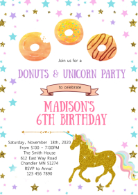 Donut unicorn birthday party invitation