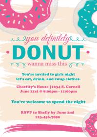 Donuts & Sprinkles Invitation A6 template