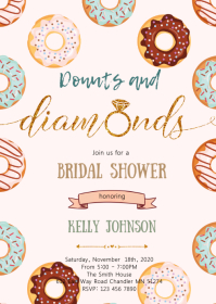 Donuts and diamonds shower invitation