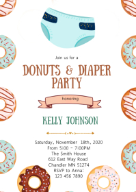 Donuts and diaper shower party invitation