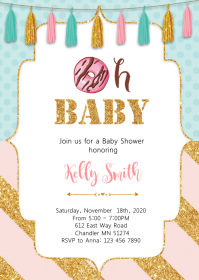 Donuts baby shower party invitation