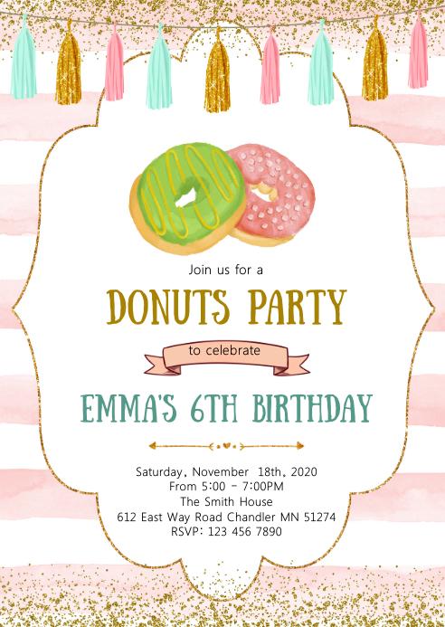 Donuts birthday party invitation