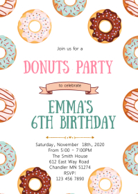 Donuts birthday party invitation A6 template