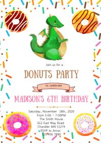 Donuts dragon birthday party invitation