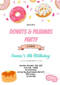 Donuts pancakes pajamas invitation A6 template