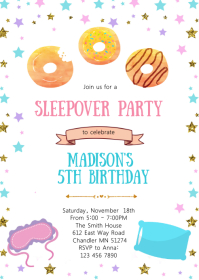Donuts sleepover birthday party invitation