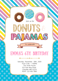 Donuts slumber birthday party invitation