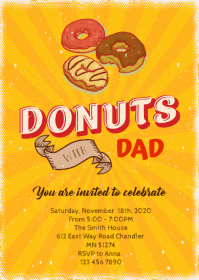 Donuts with dad party Invitation A6 template