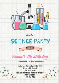 Doodle science birthday invitation A6 template