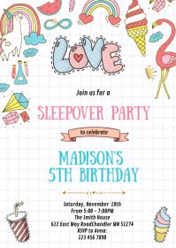Doodle sleepover birthday party invitation