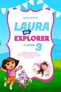 Dora Birthday Party Invitation template
