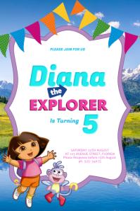 14 010 Dora The Explorer Birthday Party Customizable Design