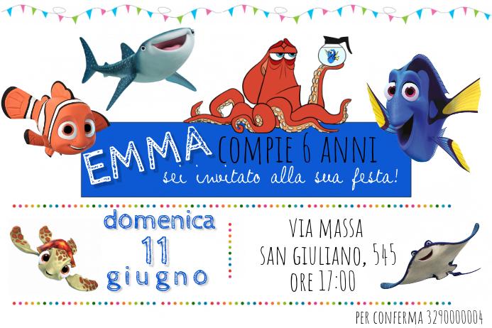 Plantilla De Invitación De Cumpleaños De Dory Nemo