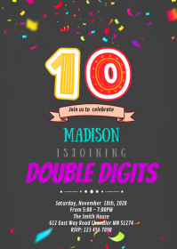 Double digits 10th birthday party invitation