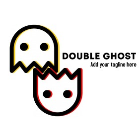 Double ghost icon logo template