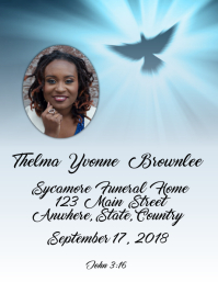 Dove Funeral Program Cover Flyer (US Letter) template