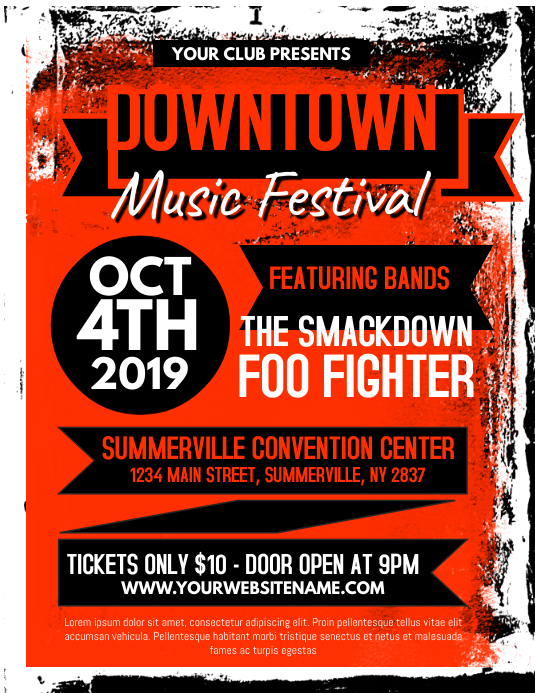 Downtown Music Festival Flyer Pamflet (Letter AS) template