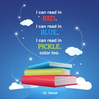 Dr Seus Quote World Book Day Instagram-opslag template