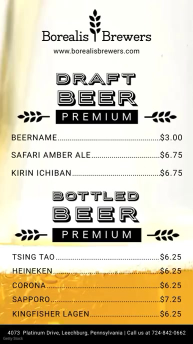 Draft Beer and Drinks Menu Board
