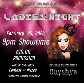 Ladies Night Invitation Flyer Poster Women Drag