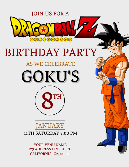 Copy Of Dragon Ball Z Birthday Invitation Template Postermywall