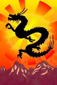 dragon sun and mountains