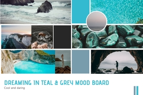 Dream Travel Teal Color Moodboard Poster Temp