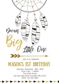 Dreamcatcher birthday party invitation A6 template
