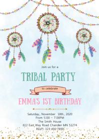Dreamcatcher birthday party invitation