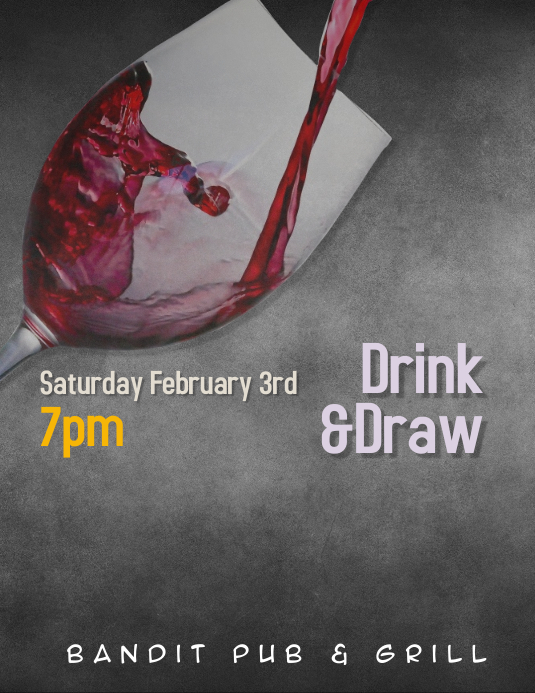 Drink and Draw paint sip Event Flyer