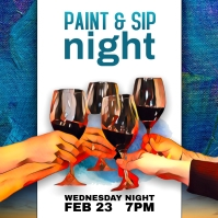 Drink and Draw paint sip Event Instagram Instagram-bericht template