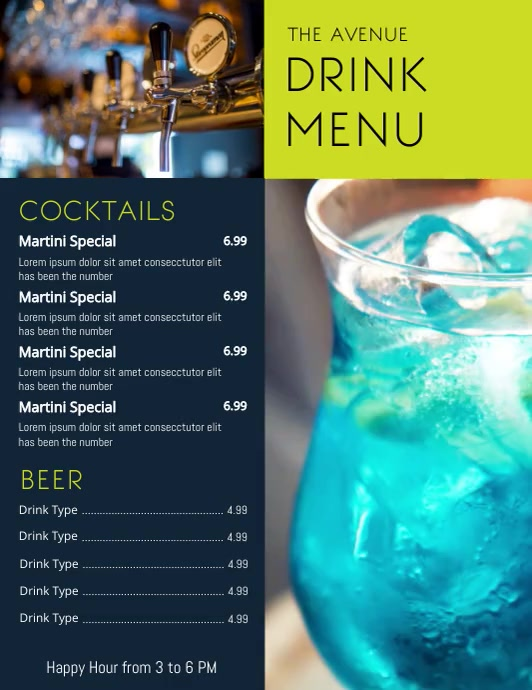 Drink Menu Flyer (US Letter) template