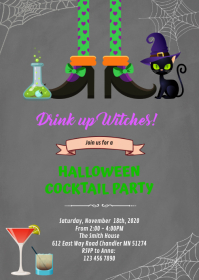 Drink up witches halloween invitation A6 template