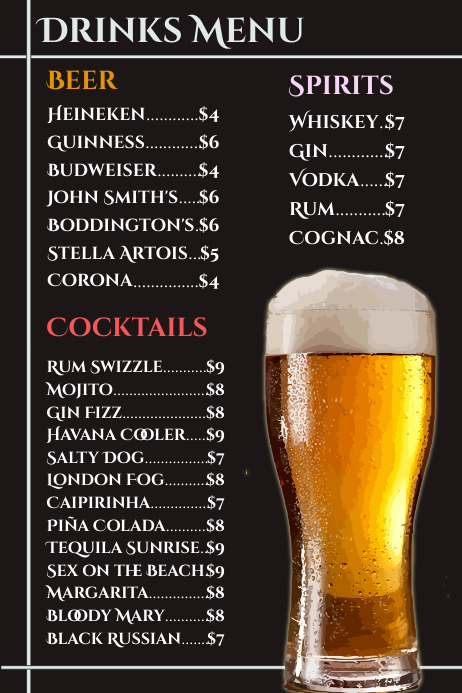 Drinks Card Beer Menu Flyer Poster Template  Postermywall