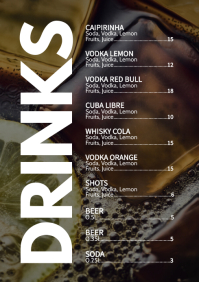 Drinks Card Cocktail Party Bar Club Menu Ad