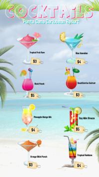 drinks/cocktails menus/beach theme/summer Digital Display (9:16) template