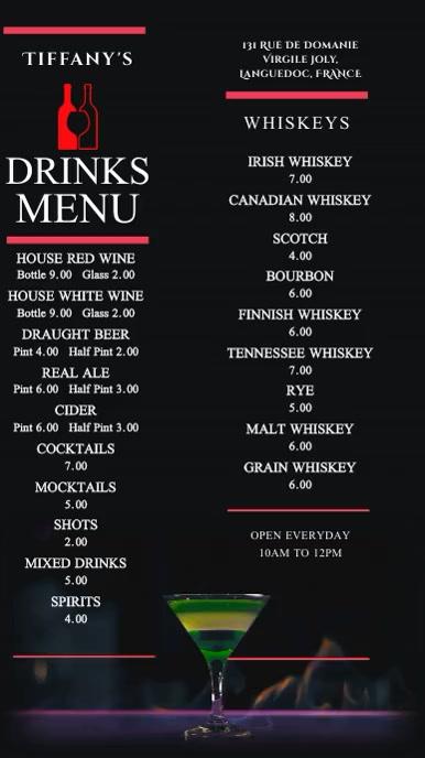 Drinks Menu Bar Pub Digital Template