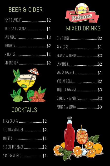 Drinks Menu Template | PosterMyWall