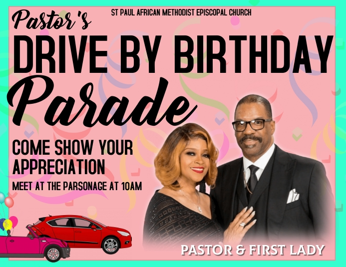 Drive-by Birthday Invitation Flyer (US Letter) template