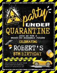 Drive-by Birthday Invitations Folheto (US Letter) template