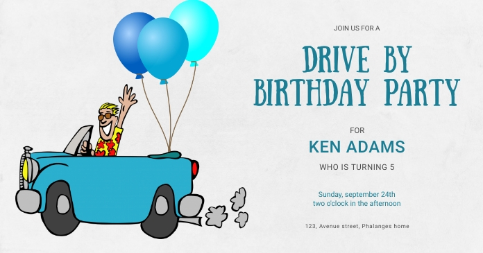 Drive-by Birthday Invitations Ibinahaging Larawan sa Facebook template
