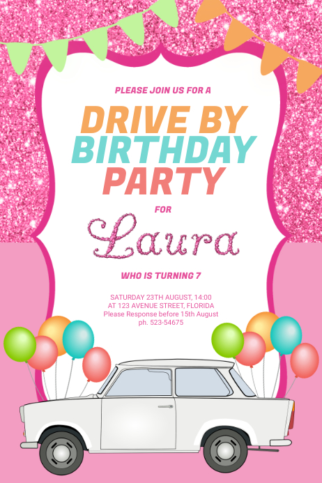 Drive-by Birthday Invitations Poster template